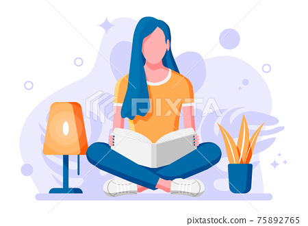 Young woman sitting cross-legged and read book. 75892765