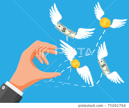 Dollars and coins with wings flying away from hand 75892768
