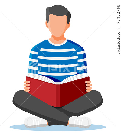 Young man sitting cross-legged and read book. 75892769