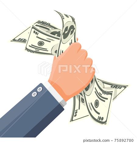 Businessman squeeze cash in fist. Money in hand 75892780