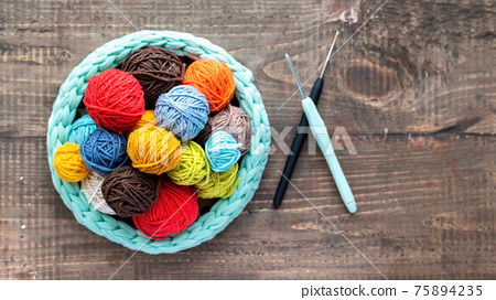Multicolored yarn balls 75894235