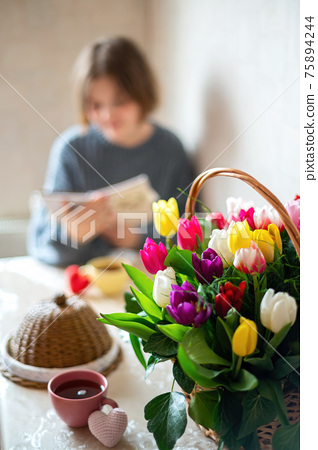 Bouquet of flowers at kitchen 75894244