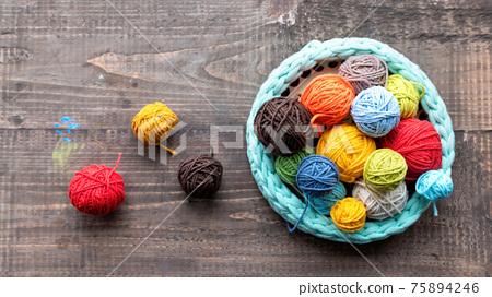 Multicolored yarn balls 75894246