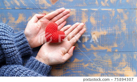 Hand made red heart composition 75894307