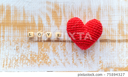 Hand made red heart composition 75894327