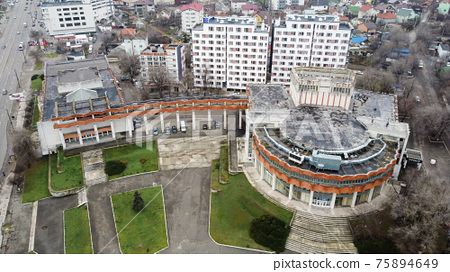 Aerial drone view of an old building in Chisinau, Moldova 75894649