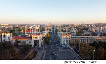 Aerial drone view of Chisinau at sunset, Moldova 75894659