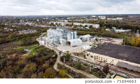 Aerial drone view of a factory in Moldova 75894663