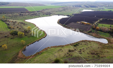 Aerial drone view of nature in Moldova 75894664