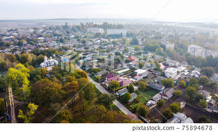 Aerial drone view of a village in Moldova 75894678