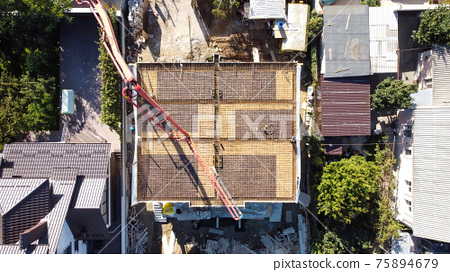 Aerial drone view of a building under construction in Moldova 75894679