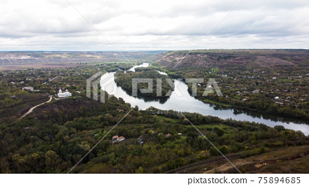 Aerial drone view of nature in Moldova 75894685