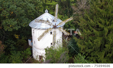 Aerial drone view of an old windmill in Moldova 75894686