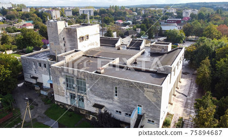 Aerial drone view of an old building in Moldova 75894687