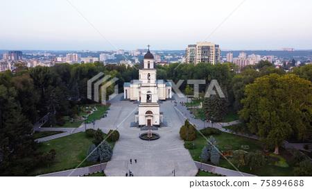 Aerial drone view of Chisinau, Moldova 75894688