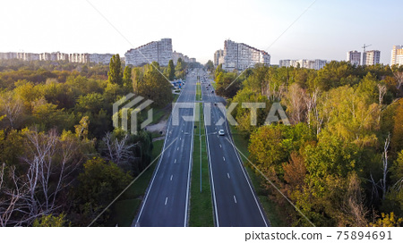 Aerial drone view of Chisinau, Moldova 75894691