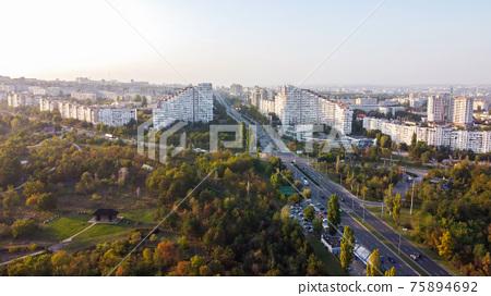 Aerial drone view of Chisinau, Moldova 75894692