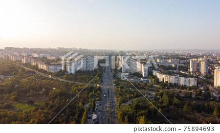 Aerial drone view of Chisinau, Moldova 75894693