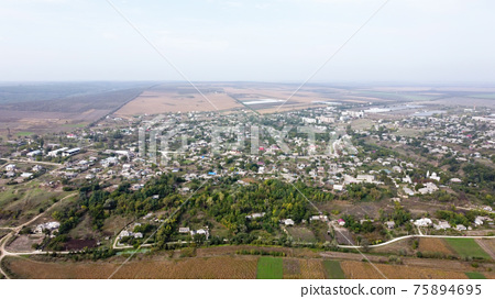 Aerial drone view of a village in Moldova 75894695