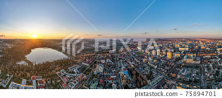 Aerial drone view of Chisinau at sunset, Moldova 75894701