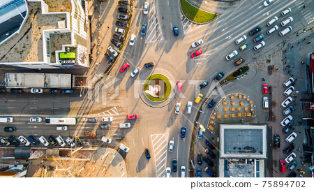 Aerial drone view of roundabout intersection in Chisinau, Moldova 75894702