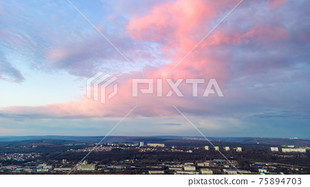 Sunset in Chisinau, Moldova 75894703