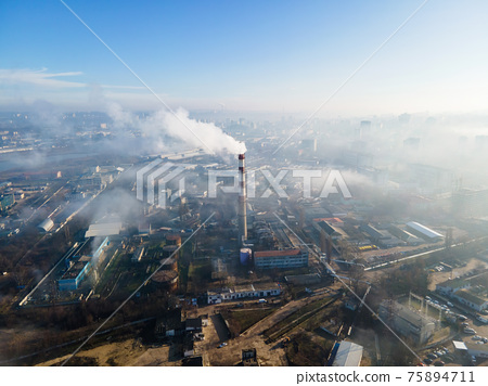 Aerial drone view of thermal station in Chisinau, Moldova 75894711