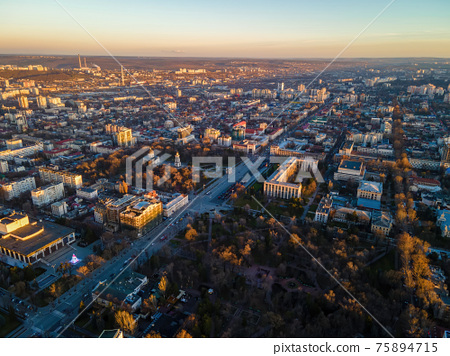 Aerial drone view of Chisinau at sunset, Moldova 75894715