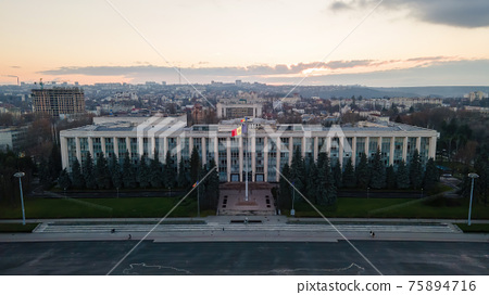 Aerial drone view of Government House in Chisinau, Moldova 75894716