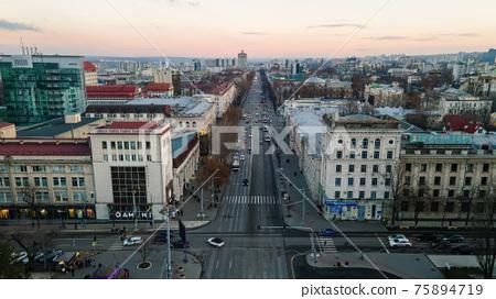 Aerial drone view of Chisinau, Moldova 75894719