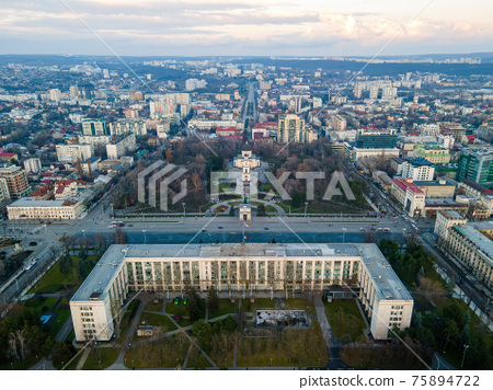 Aerial drone view of Chisinau at sunset, Moldova 75894722