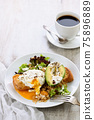 A healthy and balanced breakfast plate. 75896889