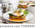 Eggs Benedict with guacamole on cereal bread 75896890