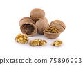 Walnuts isolated on a white background 75896993