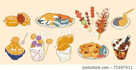 Taiwan doodle street food set 75897911