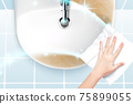 Cleaning bathroom sink with wipes 75899055