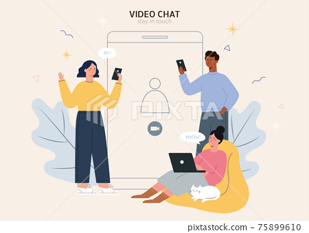 Friends on group video chat 75899610
