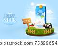 3d fresh milk ad template 75899654