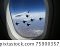 Flight of modern combat fighters on the sky background 75900357
