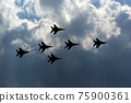 Flight of modern combat fighters on the sky background 75900361