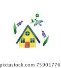 水彩畫 房 房屋 75901776