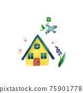 水彩畫 房 房屋 75901778