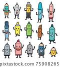 vector set of pen and pencil cartoon 75908265