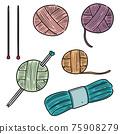 vector set of knitting 75908279