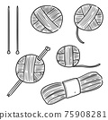 vector set of knitting 75908281