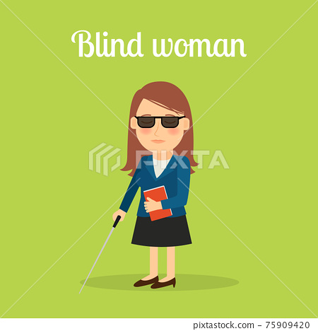Disabled blind woman 75909420
