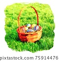 Basket with easter eggs among grass in watercolor 75914476