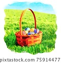 Easter basket with colorful eggs in watercolor art 75914477