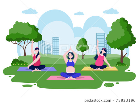Pregnant Woman Doing Yoga Poses With Relaxing, Meditation, Balance Exercises and Stretching. Flat Design Vector Illustration 75923196