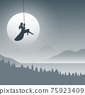 Woman on swing in the background of nature with dark blue gradient shade illustration vector. 75923409